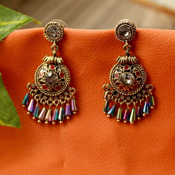 Metal Earrings with Multicolor Beads
