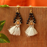 Black Beads Thread earrings