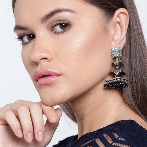Silver Three Layered Earrings