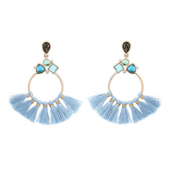 Blue Round Thread Earrings