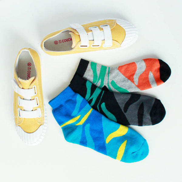 Fashion Sneaker Strapped (Yellow) & Pack of 3 Socks for Women