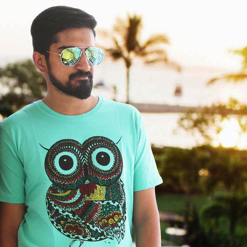 Classic Aeronaut Sunglasses & Wise Owl Printed Tees (Blue) for Men