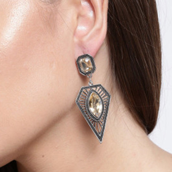 Geometric Stone Studded Danglers