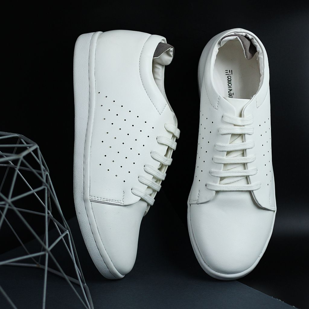 Remarkable Couch Potato Casual Perforated White Sneakers Gamerscity Chair Design For Home Gamerscityorg