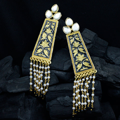 Black Hand Printed Gold Earrings With Pearls