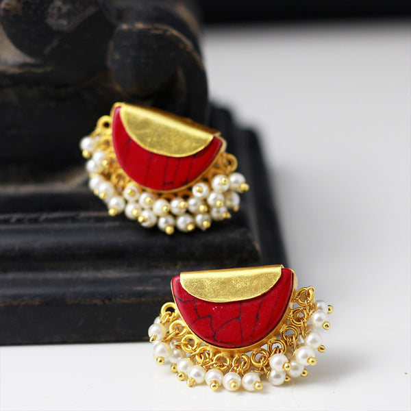 Maroon Stud Earrings With Pearls