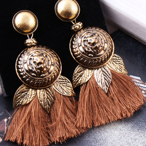 Traditional Leaf Motif with Tassels Earrings