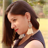 Handmade Thread Earrings with Stones & Tassels
