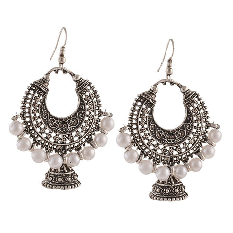 Chica Fashion Jewellery By Fizz : German Silver Hanging Hook Chandbali Jhumki Earrings