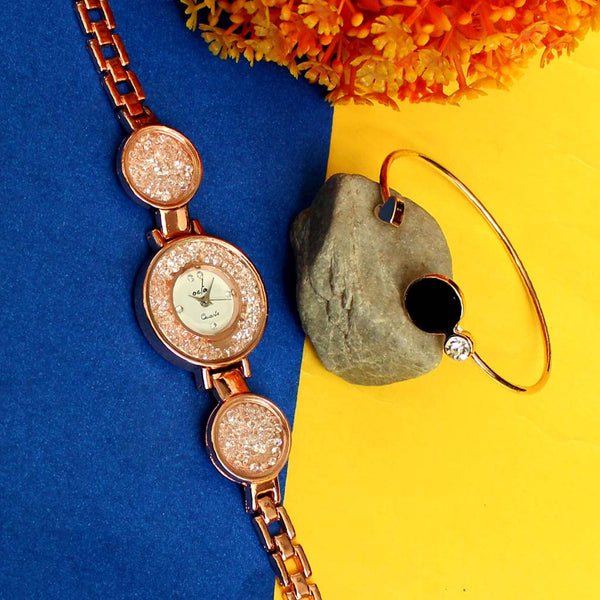 Jewel Stone Fall Watch & Black Stone Bracelet