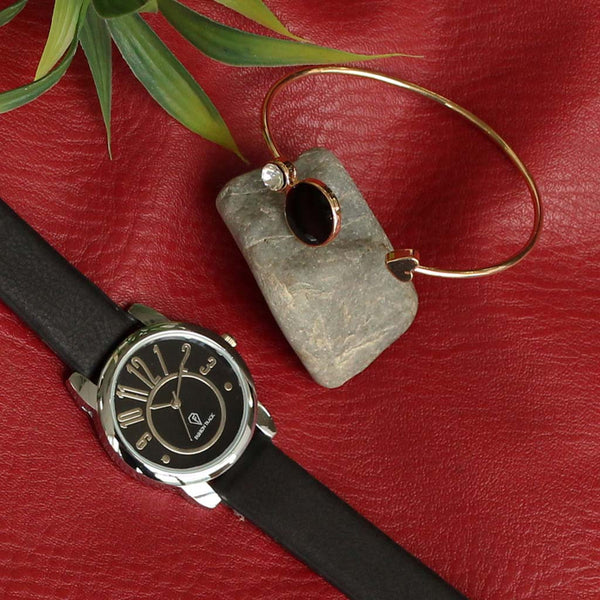 Optima Fashion Track Watch & Black Stone Bracelet