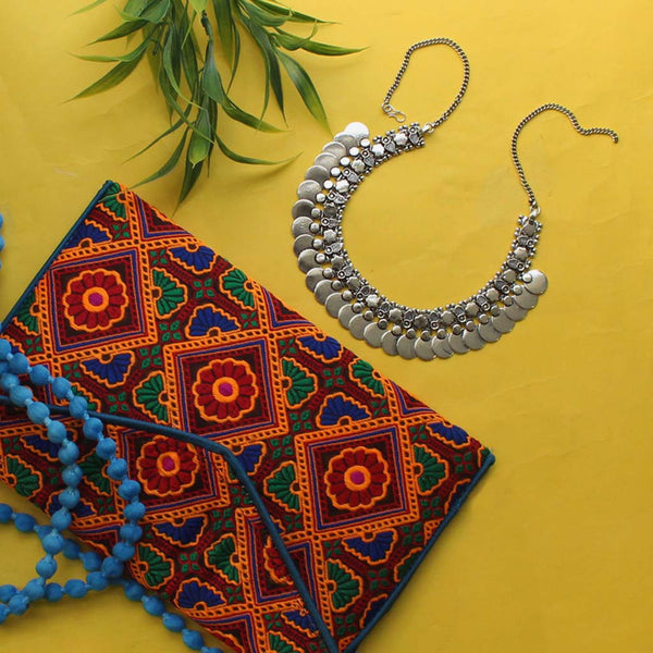 Silver Alloy Necklace & Embroidered Sling Bag