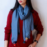 Solid Blue Scarf with Pom-Poms