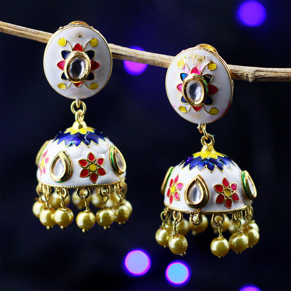 White & Gold Jhumka Earrings