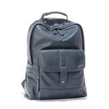 Buckle Pocket Unisex Blue Backpack