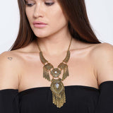 Stone Studded Gold Tone Statement Necklace