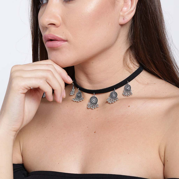 Black Choker With Silver Toned Trinkets