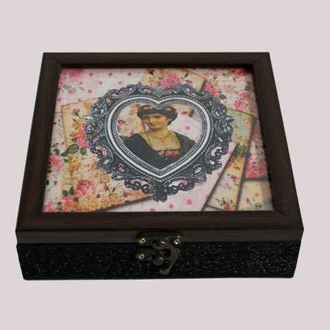 Handpainted Floral Lady Wooden Box