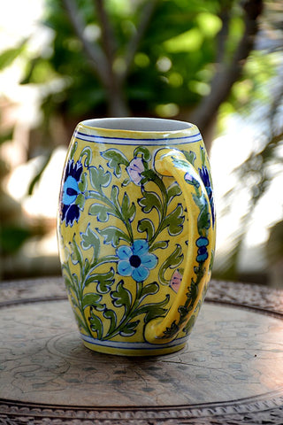 Blue Pottery Yellow Floral Beer Mug