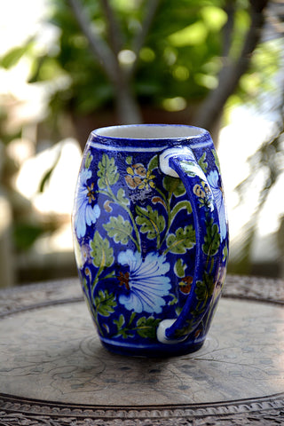 Blue Pottery Multi Colour Floral Beer Mug