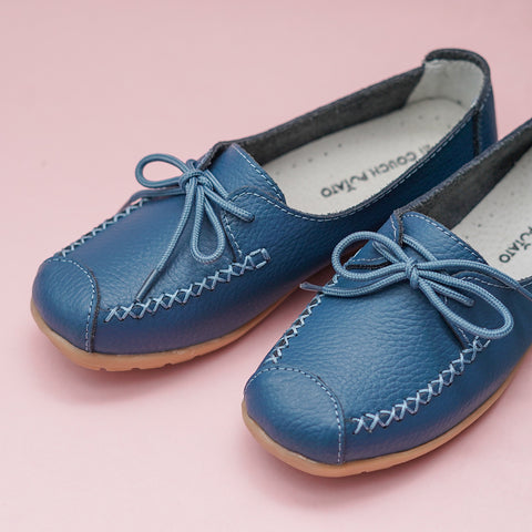 Stitch Detail Blue Lace - Up shoes