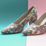 Butterfly Print Block Heel Multicolored Pumps