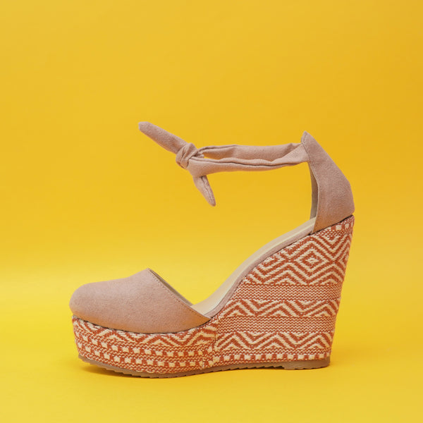 Nude Coloured Suede Wedges