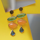 Multi-Coloured Stones Drop Earring
