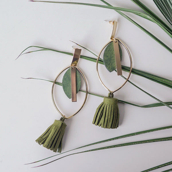 Olive Long Dangler Earrings with Tassels
