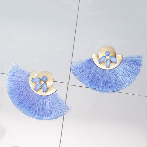 Blue Round Earrings With Tassels