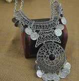 Oxidised Silver Coin Statement Necklace