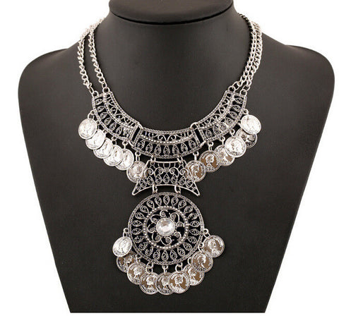 Chica Fashion Jewellery By Fizz : Oxidised Silver Coin Statement Necklace