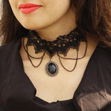 Black Lace Necklace & Black Lace Bracelet with Ring