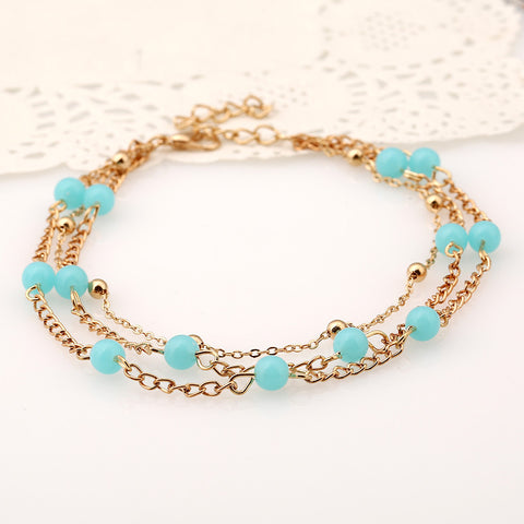 Multilayer Turquoise Anklet