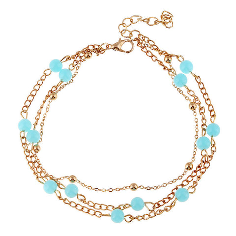 Chica Fashion Jewellery By Fizz : Multilayer Turquoise Coloured Anklet