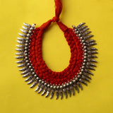 Handmade Tribal Oxidized White Metal Dori Work Necklace