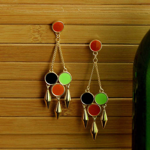 Multicolor Spike Dangler Earrings