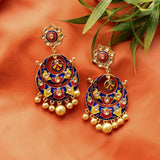 Meenakari Intricate Pattern Earrings With Pearls