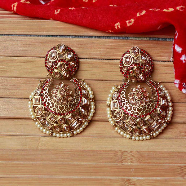 Gold Tone Traditional Kundan Chandbali Earrings