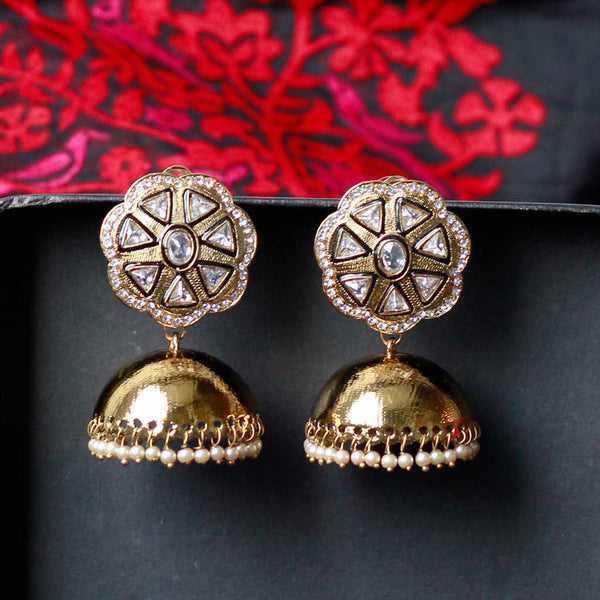Traditional Gold Tone Jhumka Earrings With Pearls