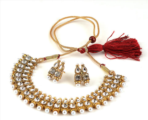 Chica Fashion Jewellery By Fizz : Gold Plated Choker Necklace Set With Kundan Polki Pearl