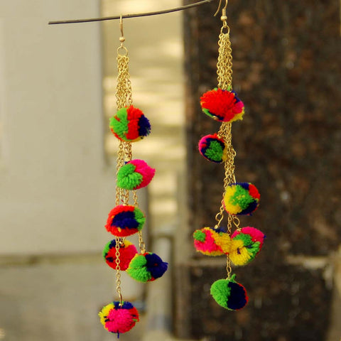 Pom Pom Multicolor Earrings