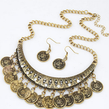 Oxidized Gold Coin Statement Necklace