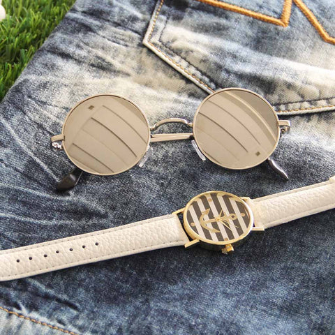 Octa Anchor Collection Watch & Vintage Round Lennon Sunglasses