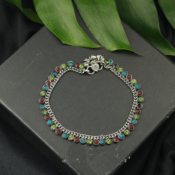 Silver Tone Anklet with Multicolor Crystals