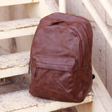 Faux Leather Unisex Brown Backpack