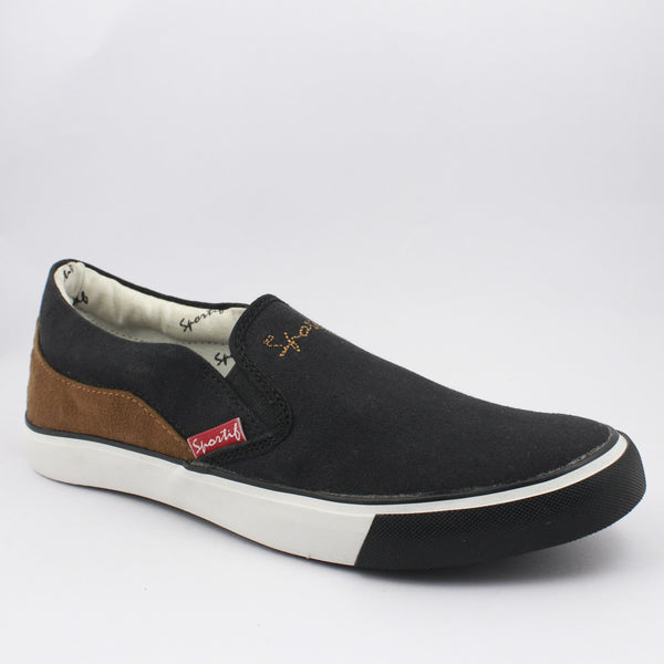 Rexona Black-Tan Slip On Sneakers