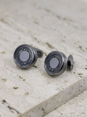 ROUND CRYSTAL CUFF LINKS