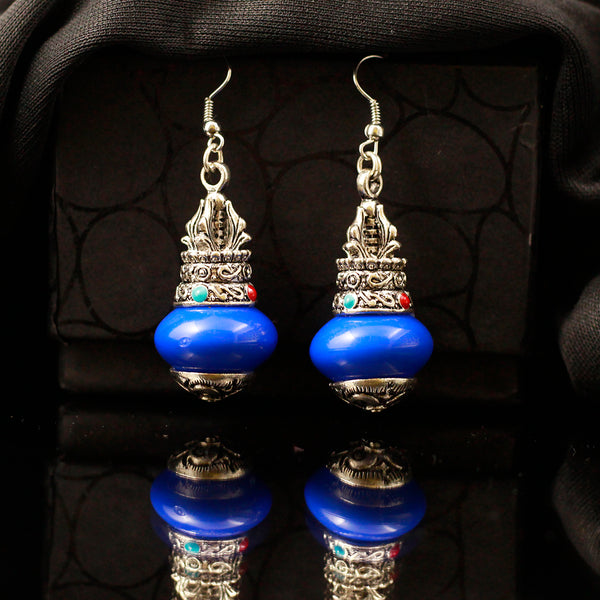 Silver Toned Earrings with Blue Gemstone