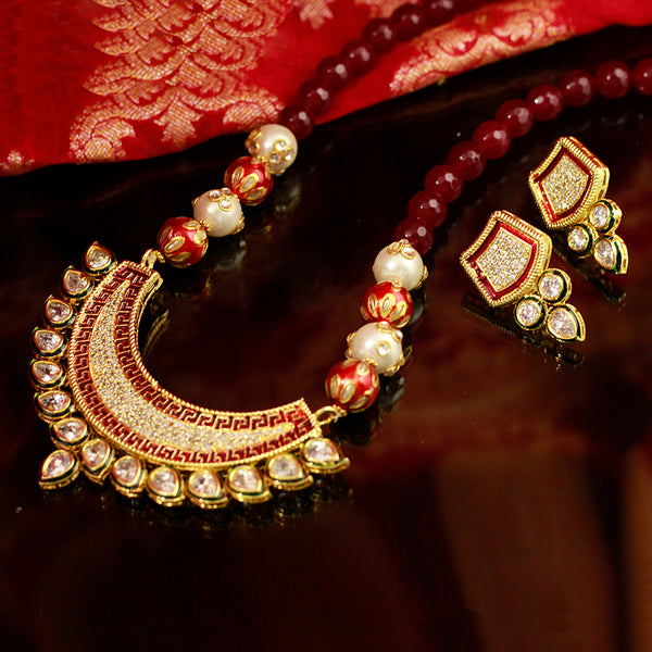 Kundan Necklace Set With MultiBeads